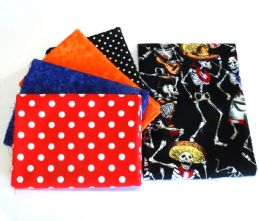 Pack of 5 100% Cotton 'Day of the Dead' Mexican Themed Fat Quarters